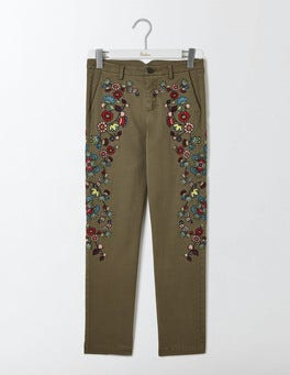 Khaki Florence Embroidered Chino