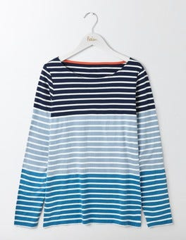 Delphinium Blue Multi Stripe Long Sleeve Breton
