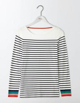 Ivory/ Navy Multi Long Sleeve Breton
