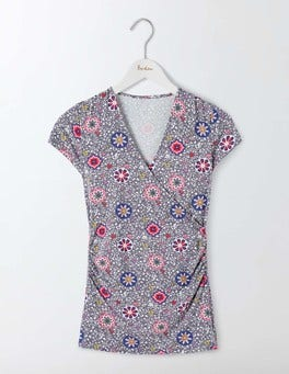 Pewter Mosaic Floral Vine Short Sleeve Wrap Top