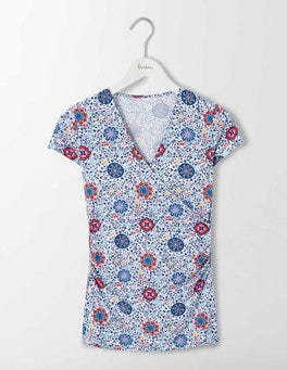 Multi Mosaic Floral Vine Short Sleeve Wrap Top