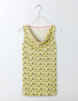 Mimosa Yellow Daisy Leaf Mono Sleeveless Cowl Neck
