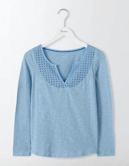Whitewash Blue Heidi Jersey Top