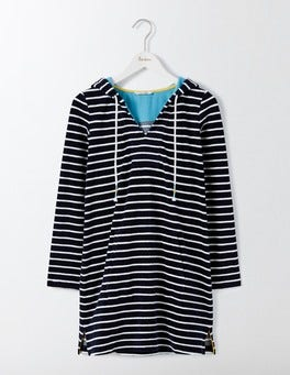 Navy and Ivory Stripe Hooded Towelling Tunic