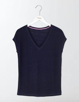 Navy V-neck Linen Tee