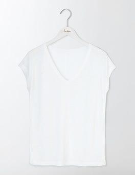 White V-neck Linen Tee