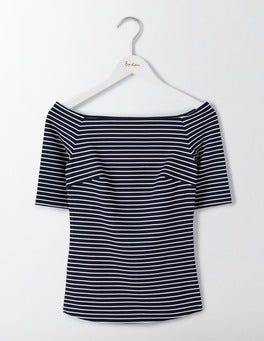Navy/Ivory Rose Ponte Top