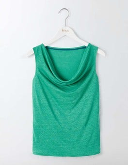Linen Sleeveless Cowl Neck
