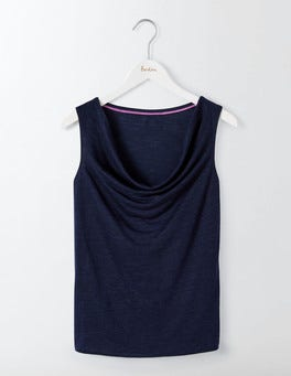 Navy Linen Sleeveless Cowl Neck
