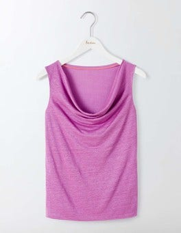 Wisteria Bloom Linen Sleeveless Cowl Neck