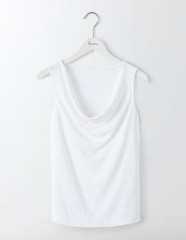 White Linen Sleeveless Cowl Neck