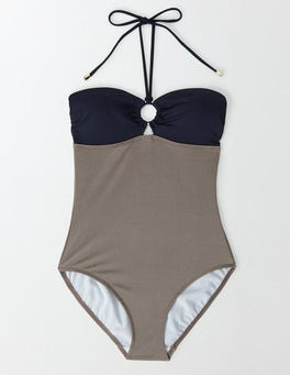 Metallic Brown Colourblock Lido Swimsuit