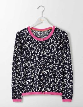 Navy Shadow Floral Polly Printed Cardigan