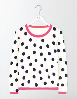 Ivory/Navy Scattered Spot/Pink Priscilla Printed  Sweater