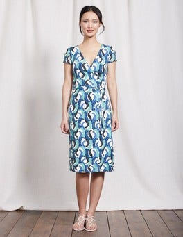 Blues Acanthus Leaf Summer Wrap Dress