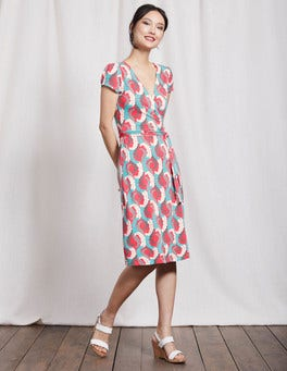 Coral Reef Acanthus Leaf Summer Wrap Dress