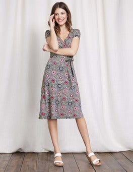 Pewter Mosaic Floral Vine Summer Wrap Dress