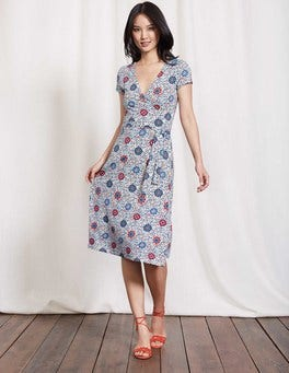 Multi Mosaic Floral Vine Summer Wrap Dress