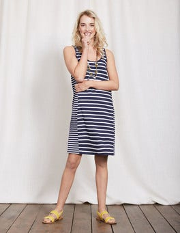 Navy/Ivory Striped Seam Tunic Dress