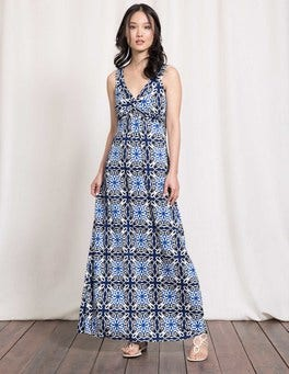 Imperial Blue Woodblock Twist Front Jersey Maxi Dress