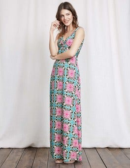 Capri Blue Woodblock Print Twist Front Jersey Maxi Dress
