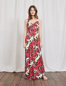 Multi Acanthus Leaf Twist Front Jersey Maxi Dress