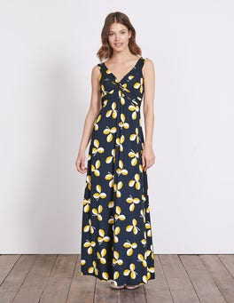 Navy Regatta Leaf Twist Front Jersey Maxi Dress