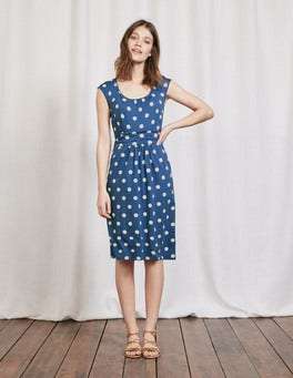 Santorini Blue Pom Pom Margot Jersey Dress