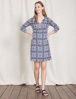 Imperial Blue Woodblock Print Casual Linen Tunic