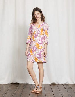 Lavender Rose Acanthus Leaf Casual Linen Tunic