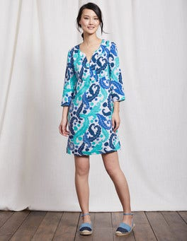 Tropical Blue Acanthus Leaf Casual Linen Tunic