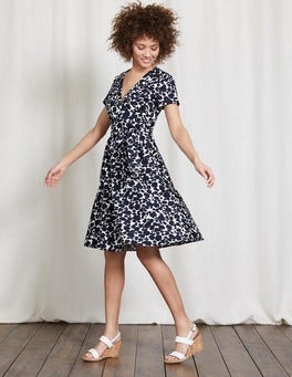 Navy Shadow Floral Lara Wrap Dress