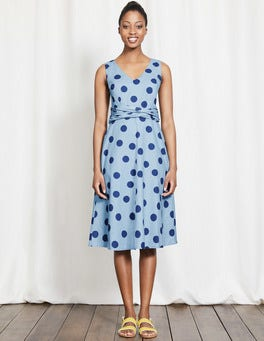 Whitewash Blue Scattered Spot Lois Dress