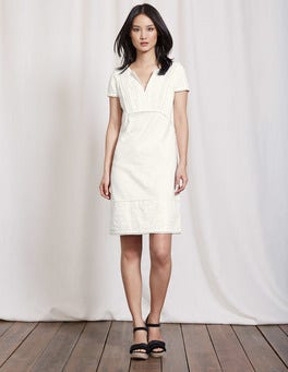 Ivory Clio Broderie Jersey Dress