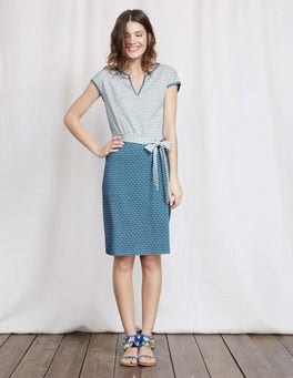 Aegean Blue/Ivory Geo Thea Jersey Dress