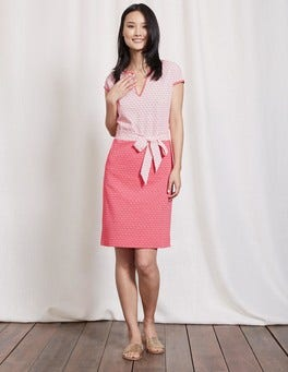 Ivory/Strawberry Geo Thea Jersey Dress