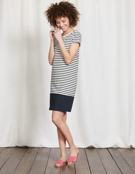 Ivory/Navy Stripe Coralie Jersey Dress