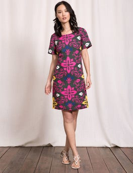 Pine Tree Collage Print Delfina Dress
