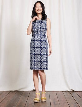 Imperial Blue Woodblock Floral Talia Dress