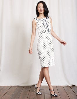 Ivory & Navy Spot Penelope Dress