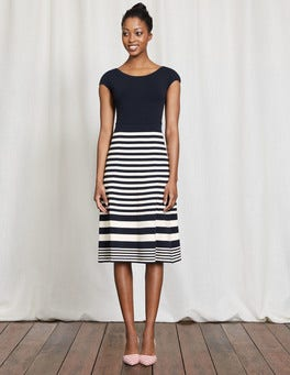 Navy/Ivory Stripe Harriet Knitted Dress