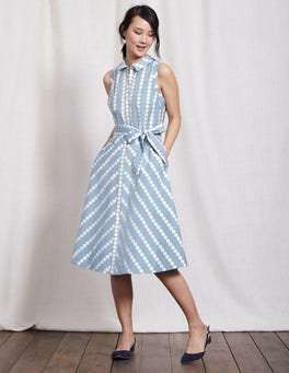 Whitewash Blue Spot Stripe Clemmie Shirt Dress
