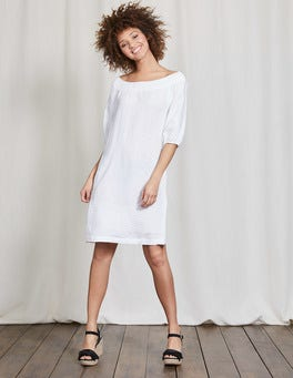 White Henrietta Linen Dress