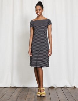 Navy/Ivory Stripe Hazel Ponte Dress