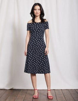 Navy Small Scattered Spot Hazel Ponte Dress