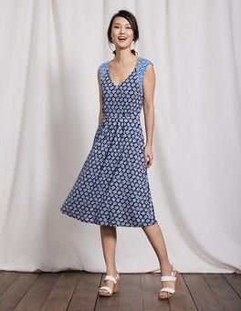 Navy Graphic Floral Gwendolyn Jersey Dress