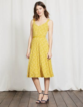 Mimosa Yellow Mono Vine Jemma Jersey Dress