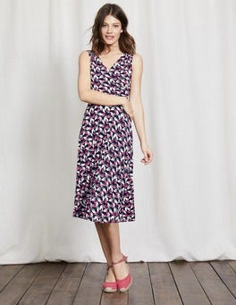 Navy Daisy Leaf Georgia Jersey Dress