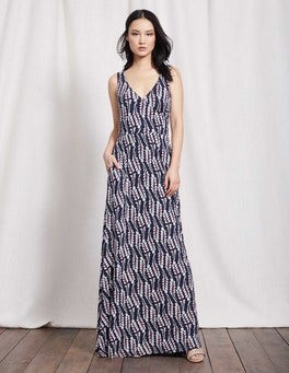 Navy Vine Annecy Full Skirt Maxi Dress