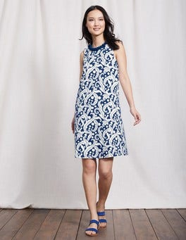 Santorini Blue Acanthus Leaf Melody Jersey Dress